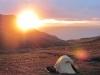 Der perfekte Sonnenuntergang - und wir campen direkt davor