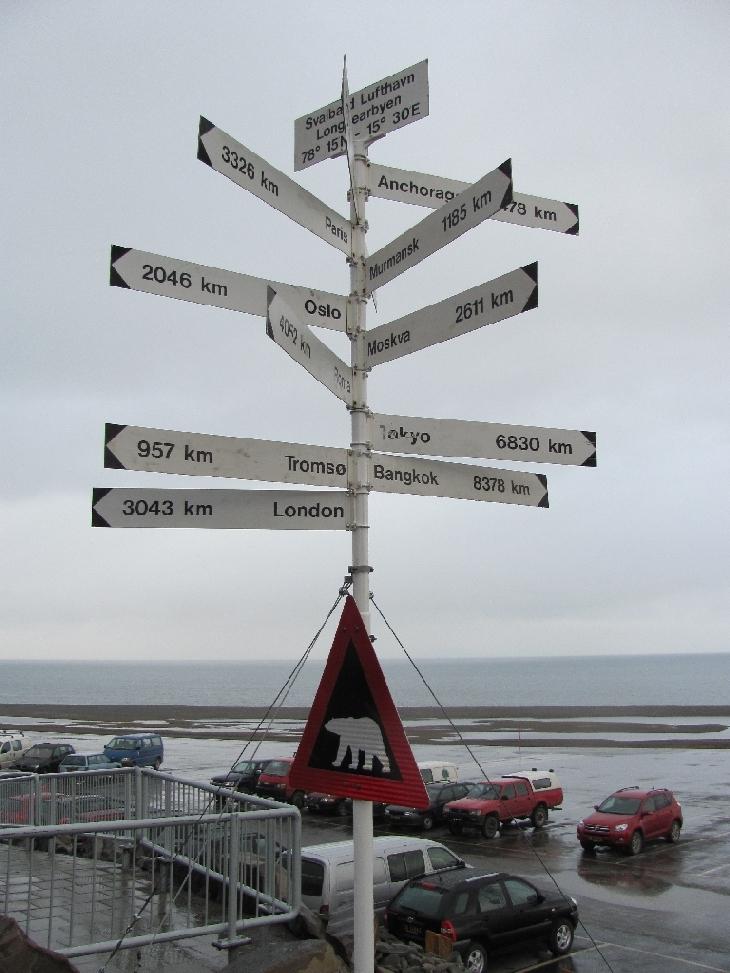 Richtungspfeile vor dem Flughafen Longyearbyen - aber Köln fehlt