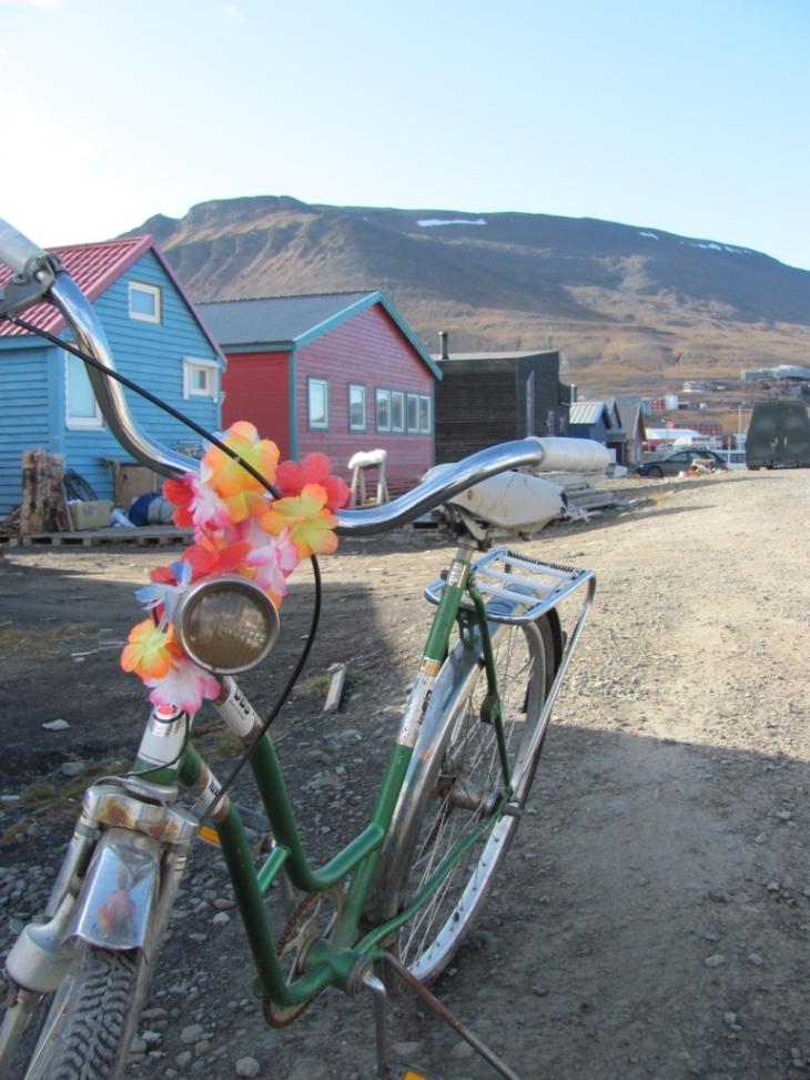 Blumenkette an einem coolen Fahrrad